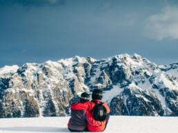 Werken als stel in de sneeuw